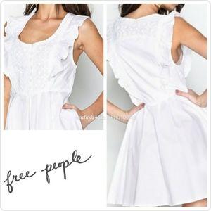 NWT Free People White Smocked Mini Dress Medium